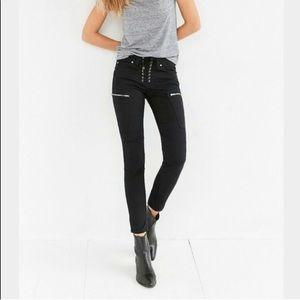 BDG Lorie Lace Up Moto Skinny Jeans Black Pants